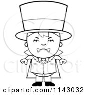 Cartoon Clipart Of A Black And White Mad Magician Boy Vector Outlined Coloring Page