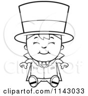 Cartoon Clipart Of A Black And White Happy Magician Boy Sitting Vector Outlined Coloring Page