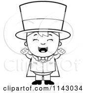 Cartoon Clipart Of A Black And White Happy Magician Boy Cheering Vector Outlined Coloring Page