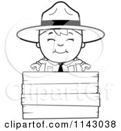 Cartoon Clipart Of A Black And White Happy Forest Ranger Boy Over A Wood Sign Vector Outlined Coloring Page