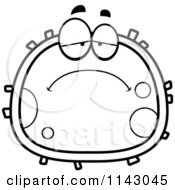 Cartoon Clipart Of A Black And White Sad Blood Cell Vector Outlined Coloring Page by Cory Thoman