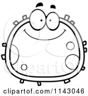 Cartoon Clipart Of A Black And White Clipart Smiling Blood Cell Vector Outlined Coloring Page by Cory Thoman