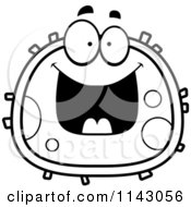 Cartoon Clipart Of A Black And White Grinning Blood Cell Vector Outlined Coloring Page by Cory Thoman