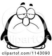 Cartoon Clipart Of A Black And White Chubby Sad Penguin Vector Outlined Coloring Page