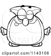Cartoon Clipart Of A Black And White Chubby Drunk Owl Vector Outlined Coloring Page by Cory Thoman