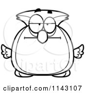 Cartoon Clipart Of A Black And White Chubby Bored Owl Vector Outlined Coloring Page by Cory Thoman