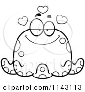 Cartoon Clipart Of A Black And White Chubby Infatuated Octopus Vector Outlined Coloring Page