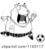 Cartoon Clipart Of A Black And White Chubby Hamster Playing Soccer Vector Outlined Coloring Page