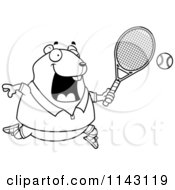 Cartoon Clipart Of A Black And White Chubby Hamster Playing Tennis Vector Outlined Coloring Page