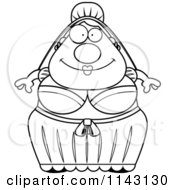 Cartoon Clipart Of A Black And White Chubby Bride Vector Outlined Coloring Page