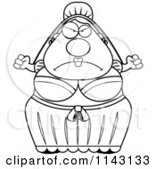 Cartoon Clipart Of A Black And White Mad Bride Vector Outlined Coloring Page