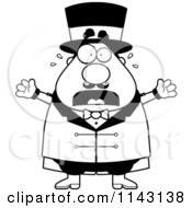 Cartoon Clipart Of A Black And White Stressed Chubby Circus Ring Master Freaking Out Vector Outlined Coloring Page