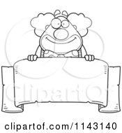 Cartoon Clipart Of A Black And White Banner And Chubby Circus Clown Vector Outlined Coloring Page