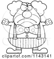 Cartoon Clipart Of A Black And White Angry Chubby Circus Clown Vector Outlined Coloring Page