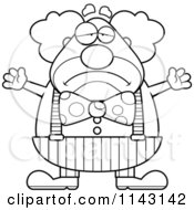 Cartoon Clipart Of A Black And White Sad Chubby Circus Clown Vector Outlined Coloring Page