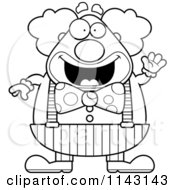 Cartoon Clipart Of A Black And White Waving Chubby Circus Clown Vector Outlined Coloring Page