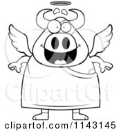 Cartoon Clipart Of A Black And White Cow Angel Vector Outlined Coloring Page