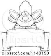 Cartoon Clipart Of A Black And White Chubby Fairy Godmother Over A Blank Parchment Banner Vector Outlined Coloring Page by Cory Thoman