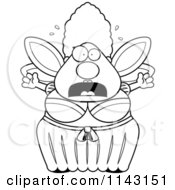 Cartoon Clipart Of A Black And White Chubby Fairy Godmother Freaking Out Vector Outlined Coloring Page
