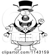 Cartoon Clipart Of A Black And White Circus Ring Master Flea Waving Vector Outlined Coloring Page