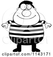 Cartoon Clipart Of A Black And White Chubby French Man Vector Outlined Coloring Page by Cory Thoman
