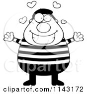 Cartoon Clipart Of A Black And White Chubby French Man With Hearts Vector Outlined Coloring Page by Cory Thoman