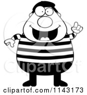 Cartoon Clipart Of A Black And White Chubby French Man With An Idea Vector Outlined Coloring Page by Cory Thoman