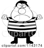 Cartoon Clipart Of A Black And White Chubby Angry French Man Vector Outlined Coloring Page by Cory Thoman