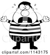 Cartoon Clipart Of A Black And White Chubby French Man Freaking Out Vector Outlined Coloring Page