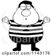 Cartoon Clipart Of A Black And White Careless Chubby French Man Shrugging Vector Outlined Coloring Page