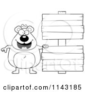 Cartoon Clipart Of A Black And White Bear With Wooden Signs Vector Outlined Coloring Page