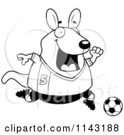 Cartoon Clipart Of A Black And White Chubby Wallaby Kangaroo Playing Soccer Vector Outlined Coloring Page by Cory Thoman