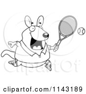 Cartoon Clipart Of A Black And White Chubby Wallaby Kangaroo Playing Tennis Vector Outlined Coloring Page by Cory Thoman