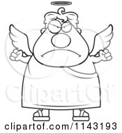 Cartoon Clipart Of A Black And White Mad Angel Vector Outlined Coloring Page