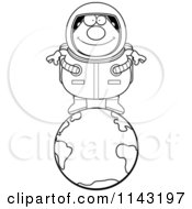 Cartoon Clipart Of A Black And White Chubby Astronaut Standing On Top Of Earth Vector Outlined Coloring Page
