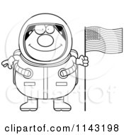 Black And White Chubby Astronaut With An American Flag