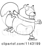 Cartoon Clipart Of A Black And White Chubby Squirrel Ice Skating Vector Outlined Coloring Page