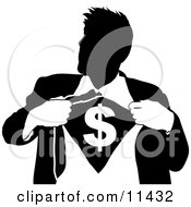 Businessman Ripping Open His Shirt To Show A Dollar Sign Clipart Illustration