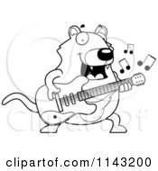 Cartoon Clipart Of A Black And White Chubby Tazmanian Devil Guitarist Vector Outlined Coloring Page by Cory Thoman
