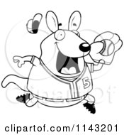 Cartoon Clipart Of A Black And White Chubby Wallaby Kangaroo Playing Baseball Vector Outlined Coloring Page by Cory Thoman