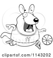 Cartoon Clipart Of A Black And White Chubby Wallaby Kangaroo Playing Basketball Vector Outlined Coloring Page by Cory Thoman