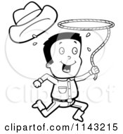 Cartoon Clipart Of A Black And White Cowboy Losing His Hat And Running With A Lasso Lariat Vector Outlined Coloring Page