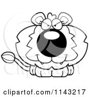 Cartoon Clipart Of A Black And White Cute Evil Lion Vector Outlined Coloring Page