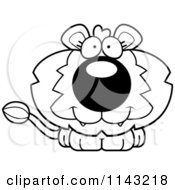 Cartoon Clipart Of A Black And White Cute Lion Vector Outlined Coloring Page