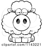 Cartoon Clipart Of A Black And White Depressed Baby Sheep Vector Outlined Coloring Page