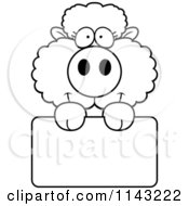 Cartoon Clipart Of A Black And White Cute Baby Sheep Holding A Blank Sign Vector Outlined Coloring Page