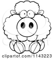 Cartoon Clipart Of A Black And White Cute Baby Sheep Sitting Vector Outlined Coloring Page