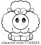 Cartoon Clipart Of A Black And White Sly Baby Sheep Vector Outlined Coloring Page
