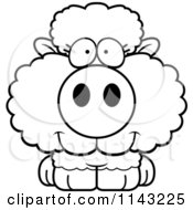 Cartoon Clipart Of A Black And White Cute Baby Sheep Vector Outlined Coloring Page