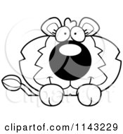 Cartoon Clipart Of A Black And White Cute Lion Over A Surface Vector Outlined Coloring Page